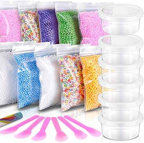 Slime Foam Balls & Slime Containers – 10 Pack Colorful Styrofoam Foam Balls, 6 PCS Slime Containers with Lids for 46g Slime, 6PCS Glue Mixing Spoons for DIY Slime, Kids Slime Party, Home Decorative