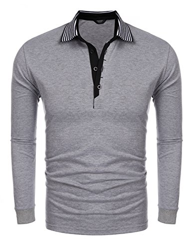 (COOFANDY Men's Short Sleeve Casual Striped Collar Classic Fit Polo Shirts (Large, Grey(Long Sleeve)) )