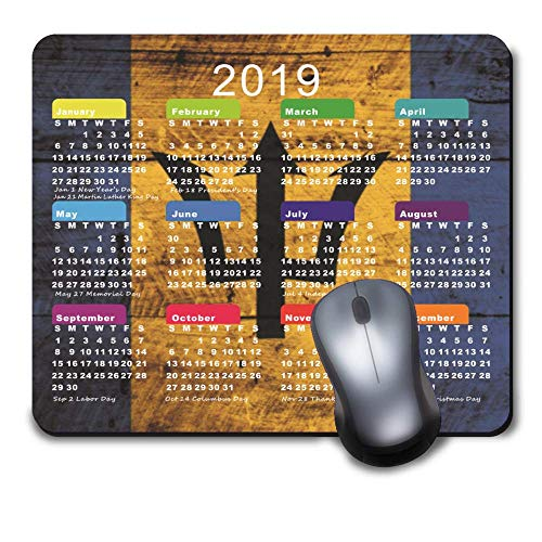 2019 Calendar Mousepad Personalized Rectangle Non-Slip Rubber Customized Computer Mouse Pad Mat Barbados Flag on Old Wood Grain Decorative (9.5 x7.9 - Calendar Barbados