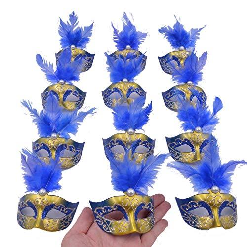 Yiseng 12pcs Luxury Pearl Feather Mini Masks Venetian Masquerade Party Decoration Novelty Gifts ()