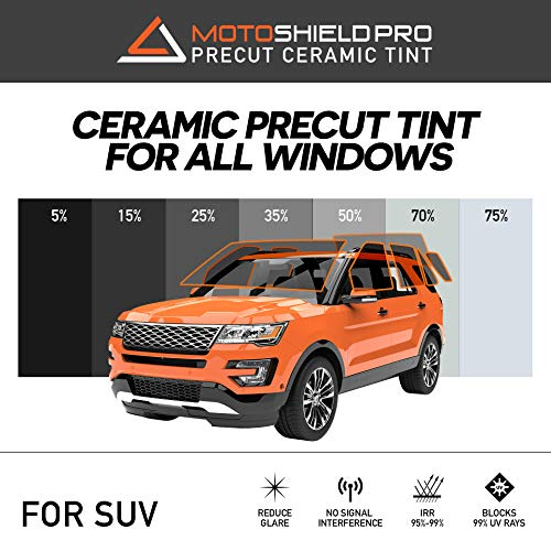 MotoShield Pro Precut Ceramic Tint Film [Blocks Up to 99% of UV/IRR Rays] Window Tint for SUVs - All Windows, Any Tint Shade
