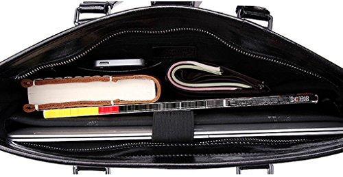 KAXIDY Umhängetasche Laptoptasche Ledertasche Vintage Umhängetasche Ledertasche Unitasche Aktentasche Arbeitstasche Collegetasche Messengerbag (Schwarz) Schwarz wLoVQU