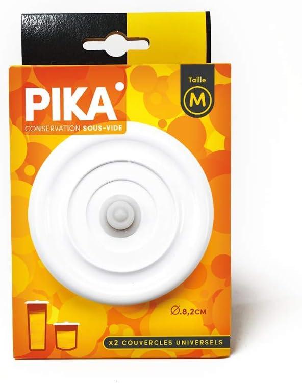 PIKA PKM tama/ño M, di/ámetro 8 cm, pl/ástico Juego de 2 Tapas universales al vac/ío Color Blanco