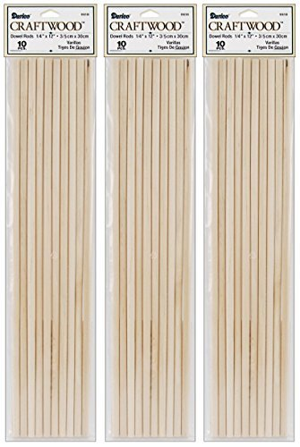 (3-Pack - Dowel Rod - Wood - 1/4 x 12 inches - 10 pieces per pack (30 Total)