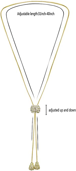 Lavencious Y Lariat Necklace Snake Chain Adjustable Drop Pendant Necklace for Women 32
