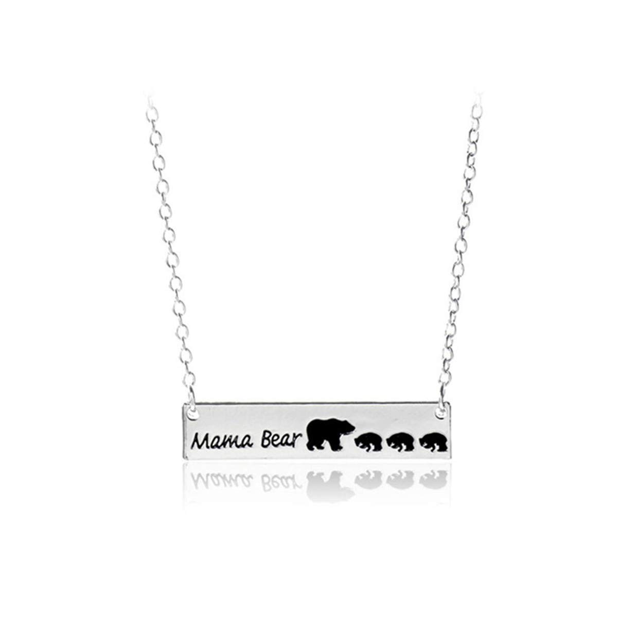 LALANG Creative Lettering Bear Pattern Pendant Necklace Family Friend Gift(Four Bear)