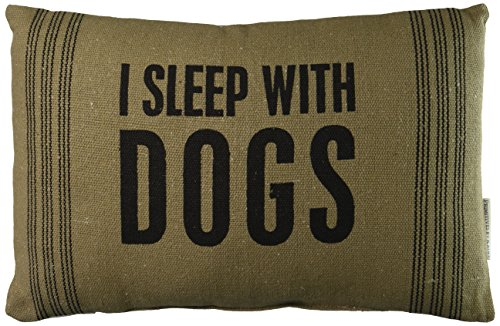 Primitives by Kathy With Dogs Dark Pillow, 10-Inch by 15-Inch (22561) - SHOW YOUR LOVE FOR YOUR BEST FRIEND: Decorative striped pillow with shabby chic styling and a sentiment DIMENSIONS: measures 10 x 15-Inches; 100% polyester fiber insert SENTIMENT READS: I Sleep With Dogs - living-room-soft-furnishings, living-room, decorative-pillows - 510QpM8jjaL -