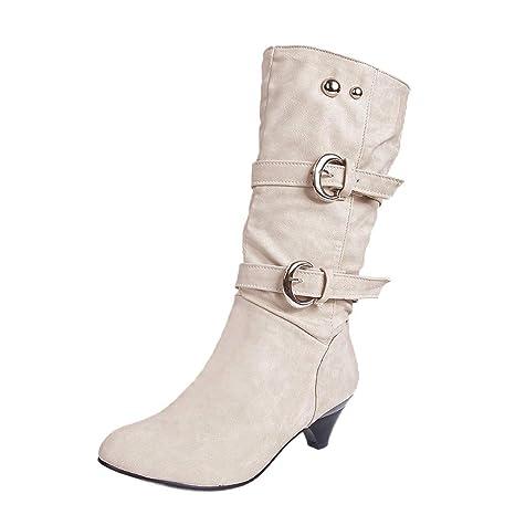 Botas Mujer Otoño invierno 2018❤ZARLLE Botas Mujer Tobillo Botas Con Cabeza Redondo Antideslizante Cinturón