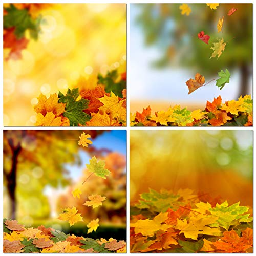 (Natural art Autumn Leaves Canvas Wall Art with Wooden Frame Maple Leaf Posters and Prints for Wall Decoration 16x16 Inch 4 Panels)