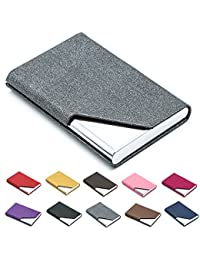 Business Name Card Holder Luxury PU Leather   Stainless Steel Multi Card  Case fb69c0544a