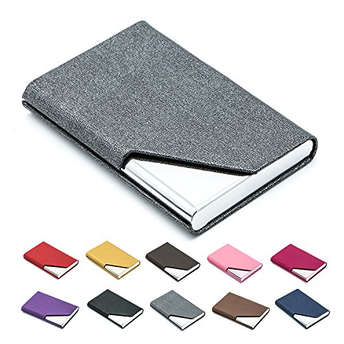 Business Name Card Holder Luxury PU Leather & Stainless Steel Multi Card Case,Business Name Card Holder Wallet Credit card ID Case / Holder For Men & Women - Keep Your Business Cards Clean (Gray)