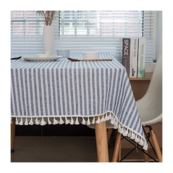 """ColorBird Stripe Tassel Tablecloth Cotton Linen Dust-Proof Table Cover for Kitchen Dinning Tabletop Decoration (Rectangle/Oblong, 55 x 86Inch, Blue) - DELICATE PRINTING - Featuring elegance stripe pattern on cotton linen fabric with beautiful tassel edge, adorn a dining table with this ColorBird modern tablecloth to start off a traditional tablescape, then dole out shimmery flatware and simplistic porcelain plates to make your meal time more luxurious DURABLE CONSTRUCTION - Manufactured from super, hard wearing 100% cotton linen fabric, with a seamless construction that won't easily fray after long term use; Tablecloth measures 55"""" Width x 86"""" Length (140 x 220 cm), includes tassel length, size deviation is between 1 to 2 inch. Fits tables that seat 6-8 people EASY TO CARE - Machine washable in low temperature or cold water, gentle cycle; Hand wash best; No bleaching; Tumble dry on low heat or lay flat to dry. Please avoid being outdoors in direct sunlight too long - tablecloths, kitchen-dining-room-table-linens, kitchen-dining-room - 510QpyRLzwL. SS570  -"""