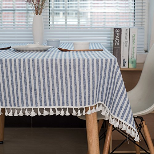 - ColorBird Stripe Tassel Tablecloth Cotton Linen Dust-proof Table Cover for Kitchen Dinning Tabletop Decoration (Square, 55 x 55Inch, Blue)