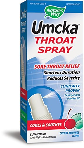 Nature's Way Umcka Throat Spray, Cherry-Menthol flavor, 1.9 Ounce (Homeopathic Sore Throat Spray)