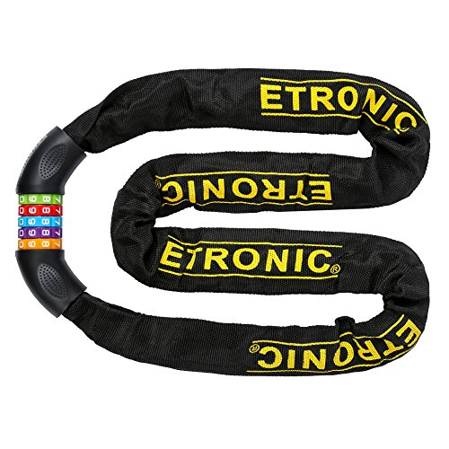 Etronic Bike Lock M10 Tuff Links 5-Digit Resettable Combination Hardened Steel Chain Lock, 4' x 1/4