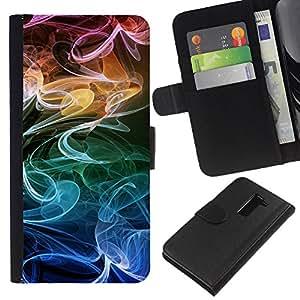 All Phone Most Case / Oferta Especial Cáscara Funda de cuero Monedero Cubierta de proteccion Caso / Wallet Case for LG G2 D800 // Smoke Fume Colorful Wallpaper Random