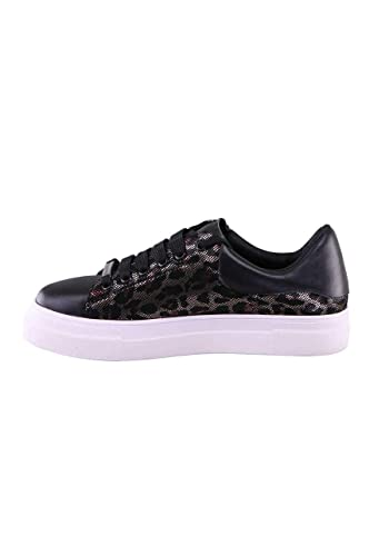 0e9dea24facb76 Stylesnob Sneaker Lalla Leder Schnürer Leo-Metallic Muster schwarz   Amazon.de  Schuhe   Handtaschen