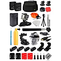 Opteka 2x Batteries + Large Case + Selfie Stick + Travel Charger + Floating Bobber + 360 Degreet Mount + HDMI Cable + Wrist Strap + Cleaning Kit + More For GoPro Hero4 Cameras
