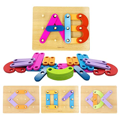 KOMOREBI Letter Number Shape Pattern Construction Toys with Color Recognition for Kids Alphabet Blocks Stack Sort Preschool Educational Toy Set for Girls and Boys Age 3-5 Year Old -