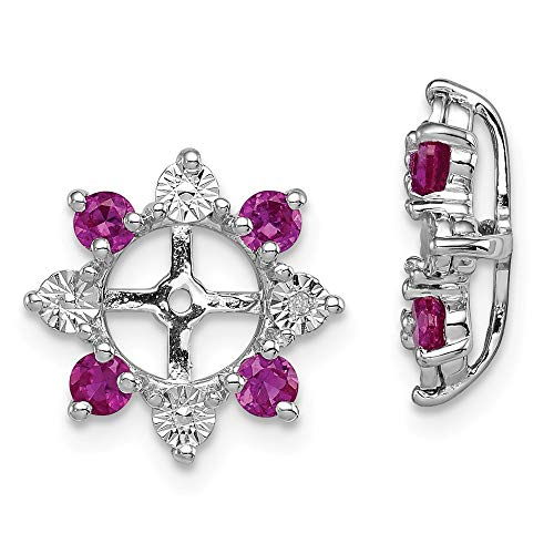 925 Sterling Silver Diamond Created Red Ruby Earrings Jacket Birthstone July Fine Jewelry Gifts For Women For Her