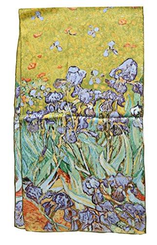 YSSP, Van Gogh's Irises, Elegant Luxury Fashion Silk Scarf Classic Premium Vintage Shawl Wrap Art, (Classic Silk Scarf)
