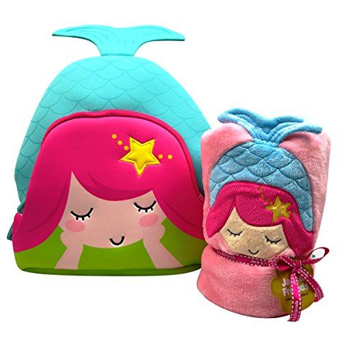 (Mermaid Plush Cuddly Kids Animal Blanket and Toddlers Backpack (Pink Mermaid))