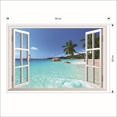 1 X 3D Beach Window View Removable Wall Stickers Vinyl Decal Home Decor Deco Art DIY