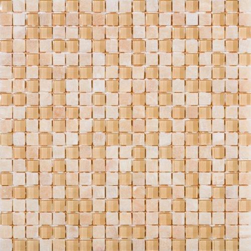 Susan Jablon Mosaics - 5/8 Inch Buttermilk Cream Stone and Glass Mosaic (Milk Stones Glass)