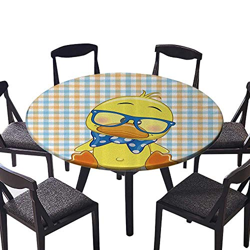 Round Tablecloth Hipster Baby Duck with Dotted Bow Cool Free Spirit Smart Geese Artsy Machine Washable 35.5