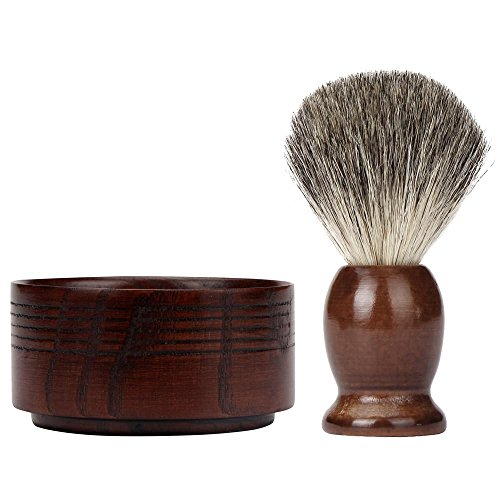 FTXJ Men's Face Care Set Shaving Brush+Natural Wood Mug Bowl+Hand Made Soap (Without Soap)