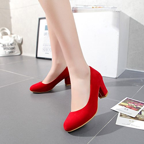 Red Toe fereshte Shoes Women's Faux Heels Leather For Round Wedding Block Pumps Chunky AUHUx7qw