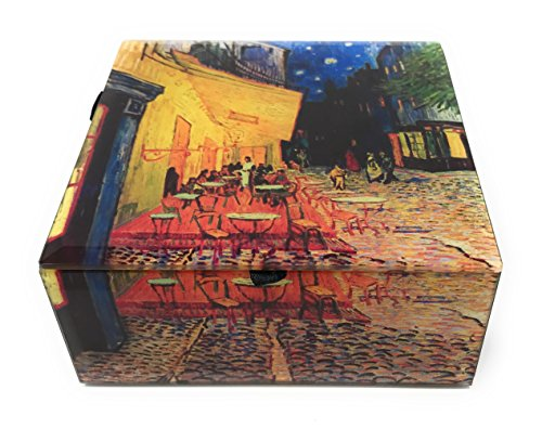 Value Arts Van Gogh's Cafe Terrace at Night Glass Keepsake Box, Beveled Edges, Velvet Lined, 4.75 Inches Square