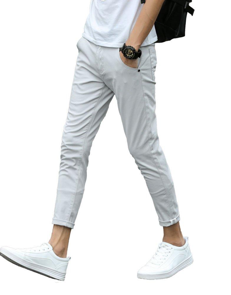 Plaid&Plain Men's Slim Fit Stretch Casual Light Grey Pants Cropped Chinos Flood Pants Light Grey 32