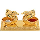 India Get Shopping Golden Metal Love Bird Duck with Chandan Roli Chopda Pair for Gift