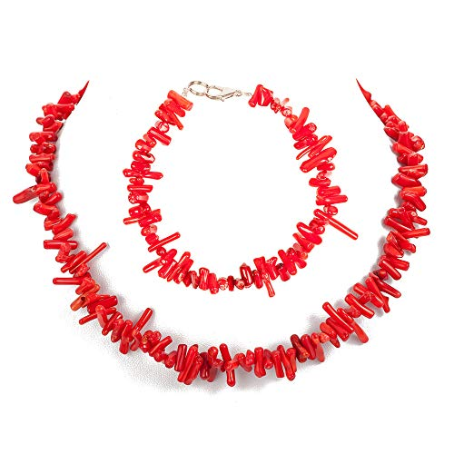 (TOMLEE Handmade Natural Coral Chips Chain Choker White Red Pink 18