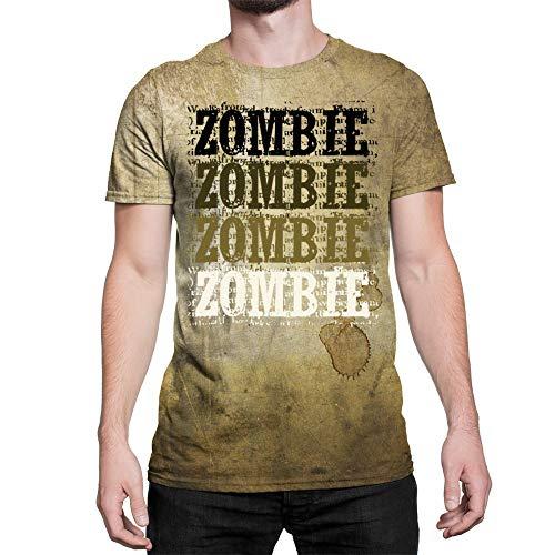 Idakoos Zombie Retro Vintage - 3D Hombres Camiseta Poliéster Novedad L