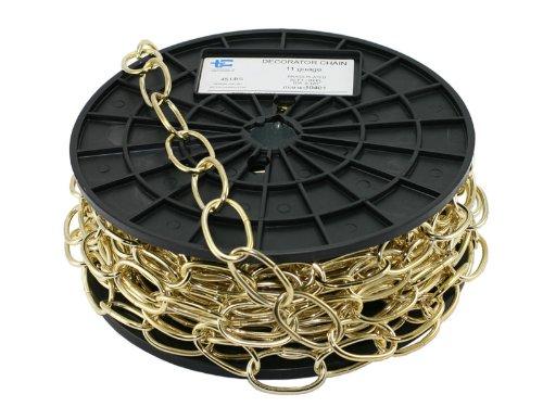 TC Decorator Chain, WELDLESS Chain, 50' FEET Reel/ROLL (50 Feet, Bright Brass)