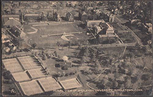 Aerial view of Wesleyan University Middletown CT postcard 1946