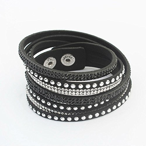AKOAK Women Multilayers Rhinestones Cuff Wrap Faux Leather Bracelet,Black