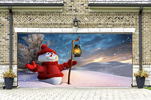Christmas snowman garage door covers 3d banners christmas for Christmas garage door mural