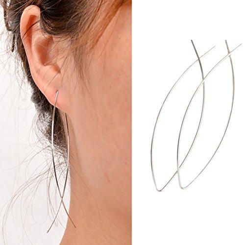 Freedi Threader Wire Dangle Earrings for Women Vintage Drop Earrings 1Pair Silver