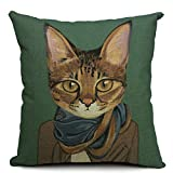 European Style 18 X 18 Inch Cotton Blend Linen Cute Cats Dogs Throw Pillow Cover Cushion Case For Home Bedding Car Sofa Decoration (Dark Green)