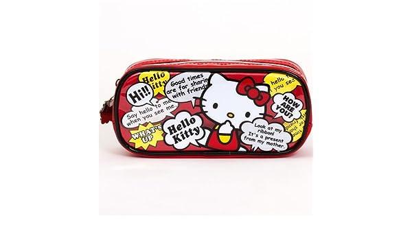 Estuche rojo Hello Kitty, con bocadillos de cómic, de Japón ...
