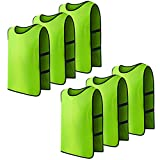 COSMOS Team Practice Pinnies Scrimmage Vests Sport Jerseys Vests With Flexble Straps For Adult, Pack Of 6 Pcs (Fluorescent Green)
