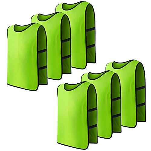 Cosmos Team Practice Pinnies Scrimmage Vests Sport Jerseys Vests with Flexible Straps for Adult, Pack of 6 Pcs (Fluorescent Green)