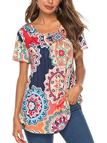 Famulily A Line Tunic Plus Size Clothing for Women Summer Shirt for Leggings Aesthetic Maternity Shirts Elegant Boho Flared Long Tops 2XL