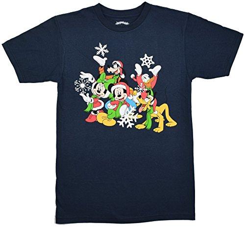 Disney Mickey Minnie Donald Goofy Holiday Cheer T-shirt (Large, (Disney Christmas Shirts)