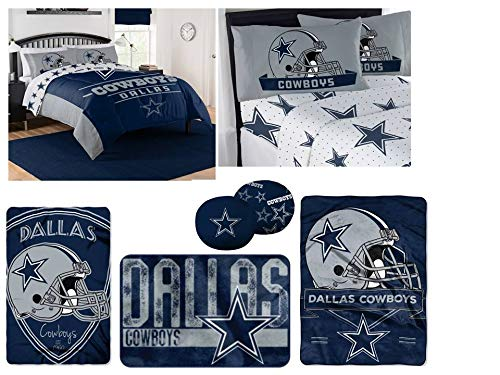 NFL Dallas Cowboys Ultimate 14pc Full Bedding Set - Includes 1 comforter, 2 flat sheets, 2 fitted sheets, 4 standard-size pillowcases, 1 blanket, 1 throw, 1 rug, and 2 toss pillow