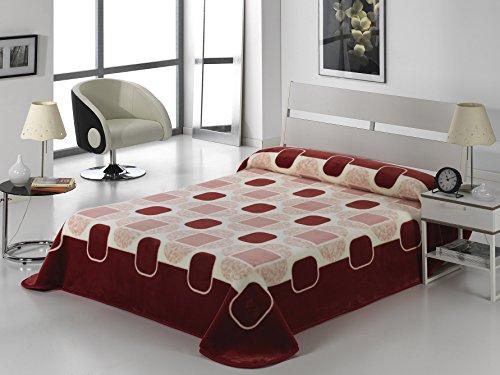 European - Made in Spain warm blanket Tokyo 220x240 - 50x75 Burdeos Color 1 PLY by MORA Blankets