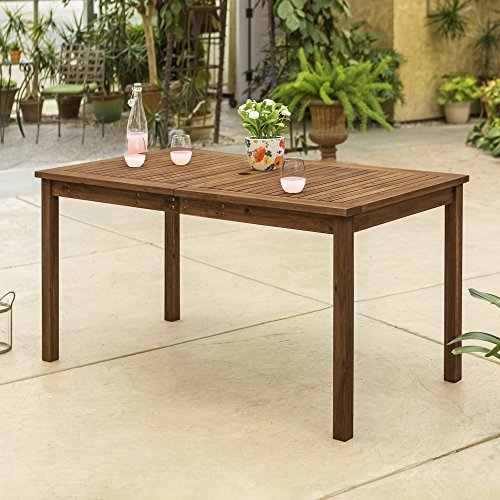 Walker Edison AZWSDTDB 6 Person Outdoor Patio Wood Rectangle Dining Table All Weather Backyard Conversation Garden Poolside Balcony, 60 Inch, Dark Brown